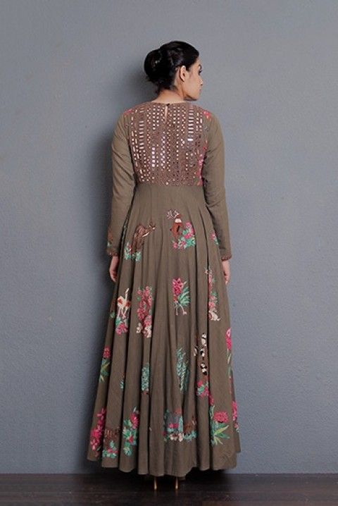 Brown Mirror and hand embroidered long dress