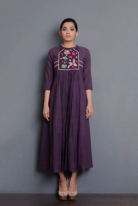 Wine cotton hand embroidered gathered dress