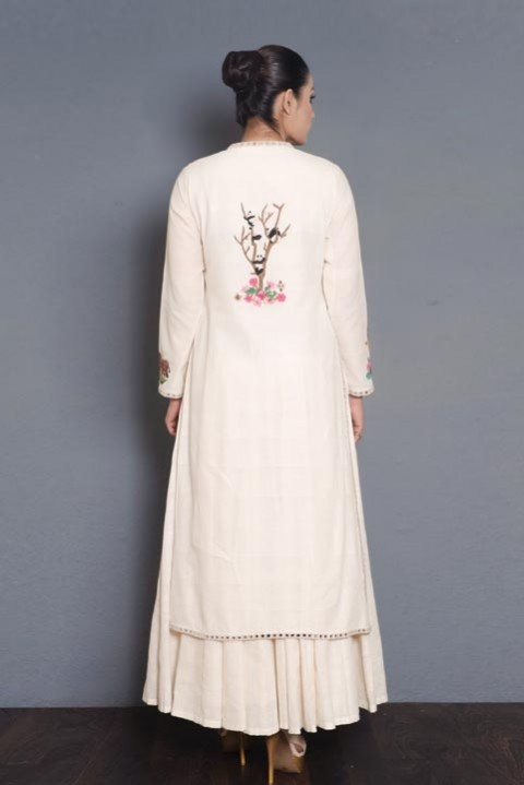 Off-white Handwoven embroidered layered dress