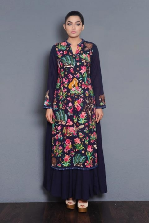 Indigo khadi embroidered layered dress