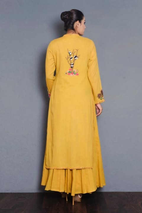 Yellow Khadi embroidered layered dress