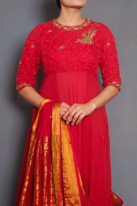 Red embroidered sari gown