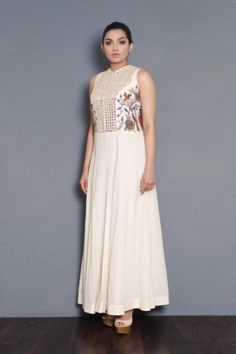 Off-white Handwoven embroidered floor length dress
