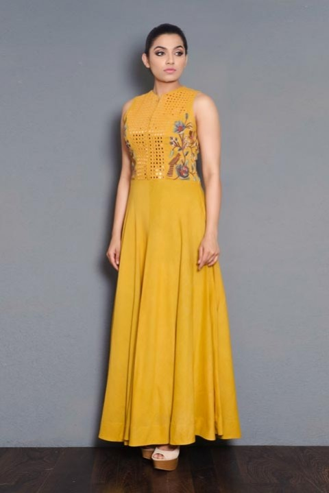 Yellow Khadi embroidered floor length dress