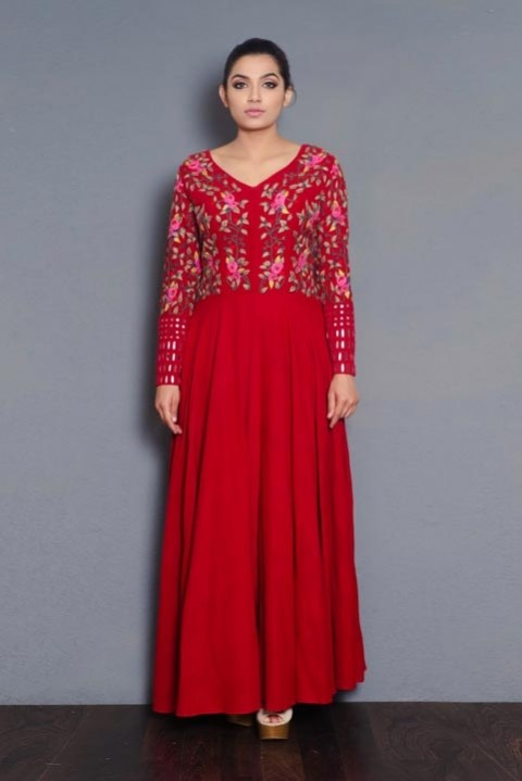 Red embroidered full length dress