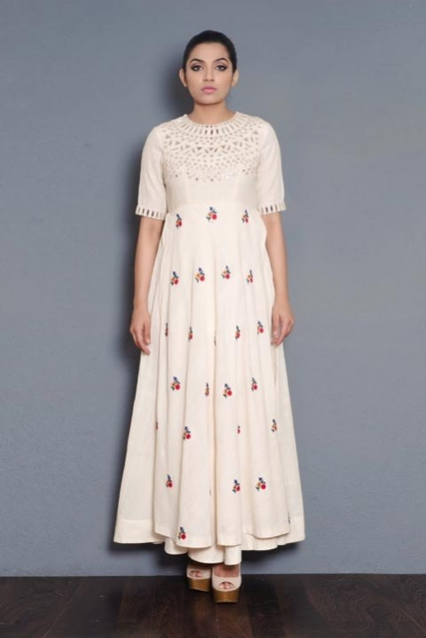 Off-white Handwoven mirror and hand embroidered layered dress