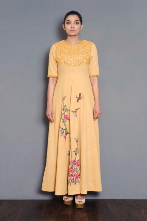 Yellow Khadi mirror and hand embroidered dress