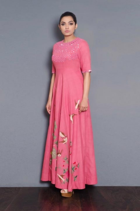 Pink Khadi mirror and hand embroidered dress