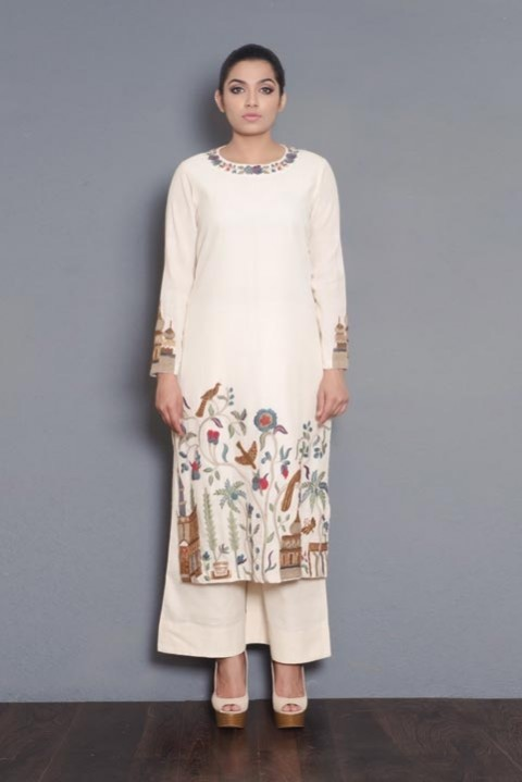 Kora hand Embroidered Kurta