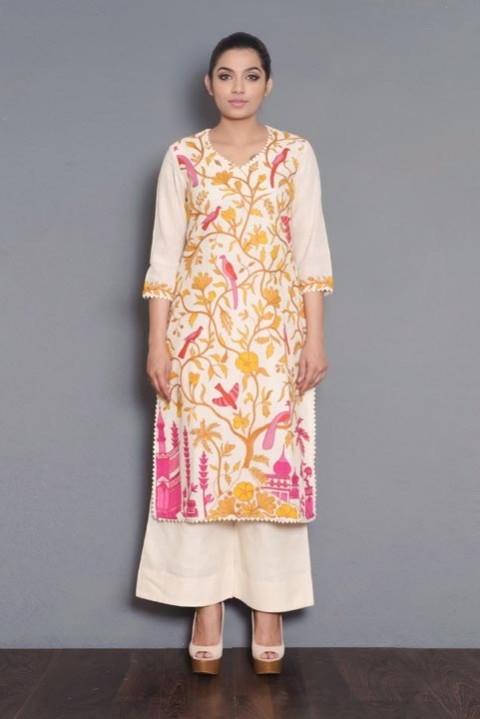 Off-white Handwoven full embroidered kurta