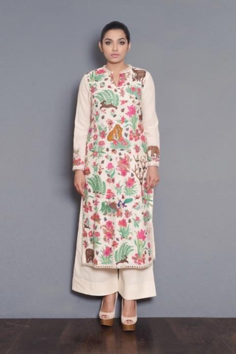 Off-white handwoven full embroidered kurta