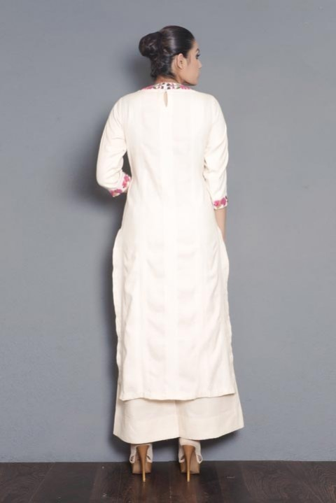 Kora khadi mirror embroidered kurta