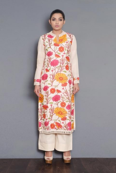 Kora khadi full embroidered kurta
