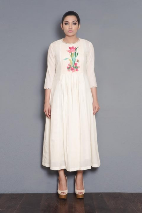 Kora khadi gathered dress