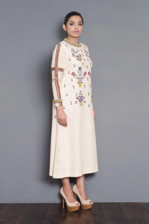 Ivory handwoven bead embroidered kurta
