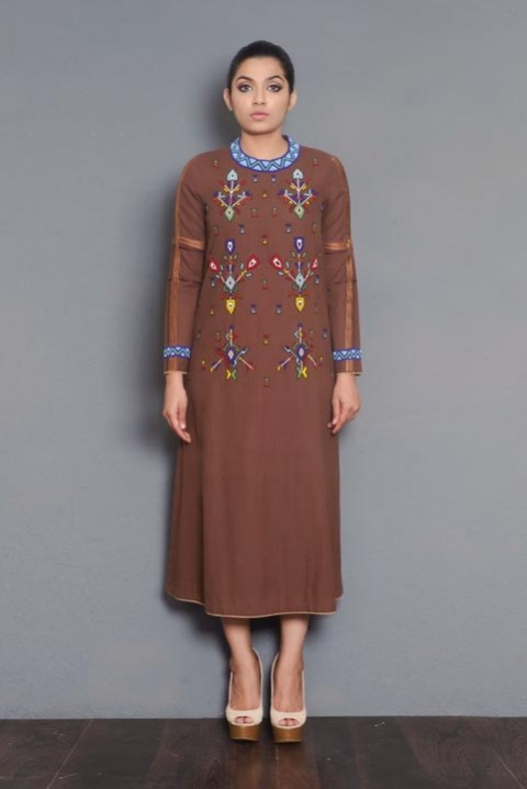 Brown khadi bead embroidered kurta