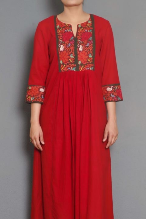 Red cotton gathered dress