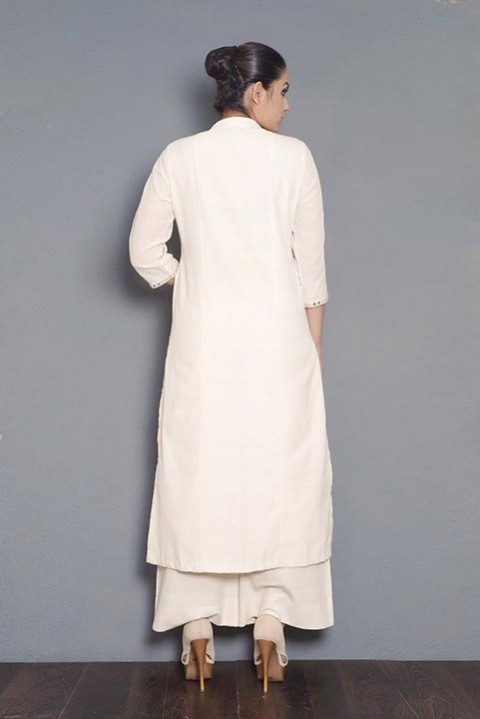 Kora khadi animal embroidered kurta
