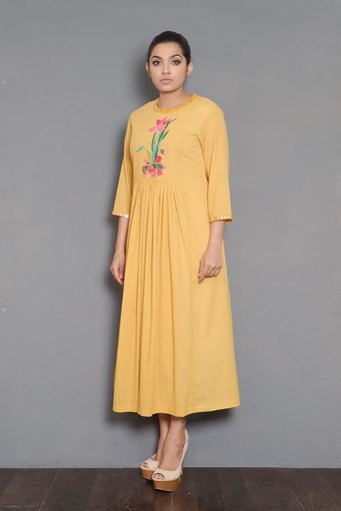 Off-white handwoven gathered dress