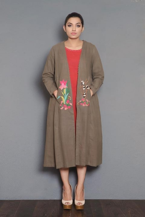 Brown khadi gathered jacket
