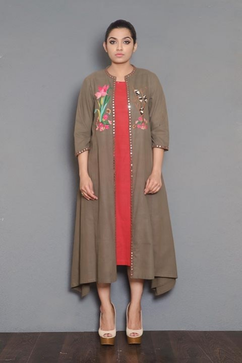 Brown khadi uneven cut jacket