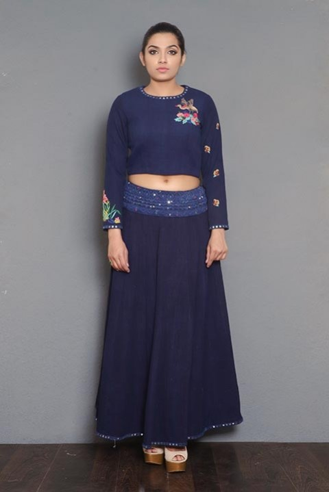 Navy blue hand embroidered skirt