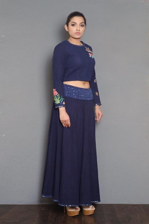 Navy Blue hand embroidered crop top