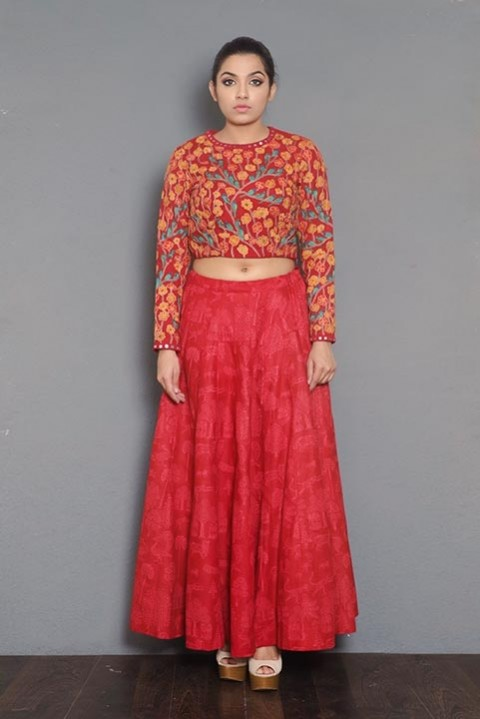 Red Khadi Block printed skirt