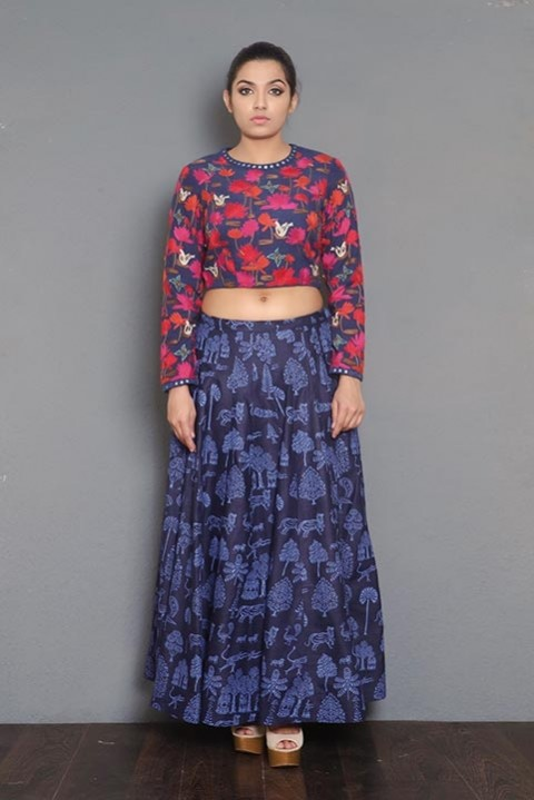 Navy blue ahinsha silk hand embroidered crop top