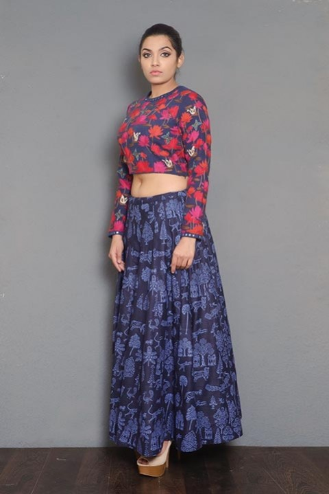 Navy blue khadi block printed skirt