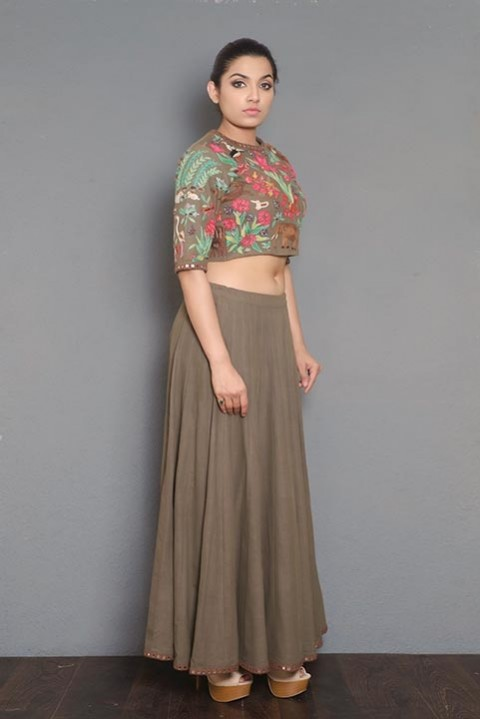 Brown Handwoven hand embroidered top