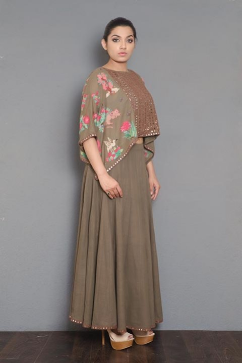 Brown khadi embroidered poncho
