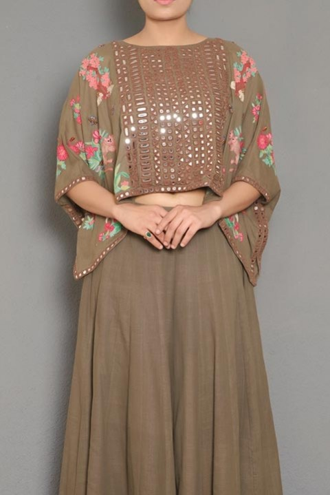 Brown Handwoven embroidered poncho