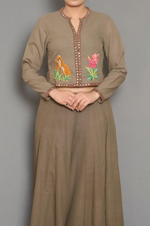 Brown khadi hand embroidered top