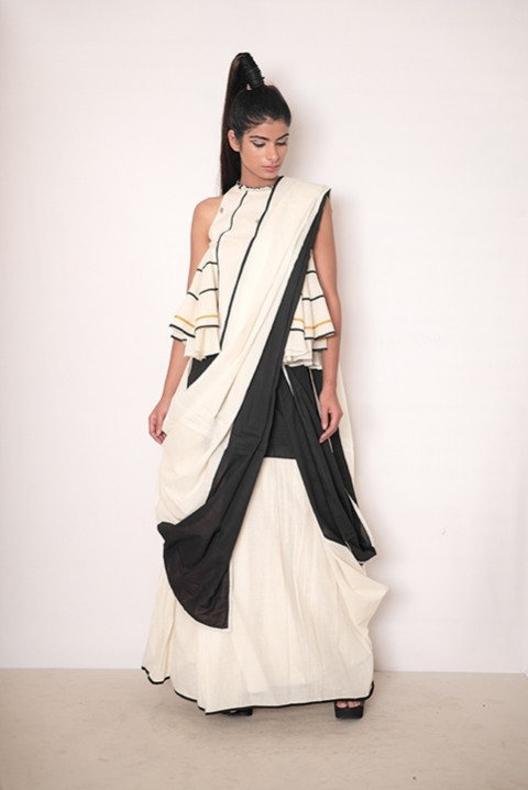 Chaos at the Piazza peplum blouse and saree set
