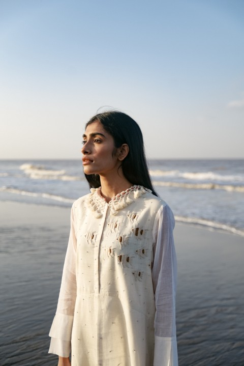 Kora khadi hand embroidered dress