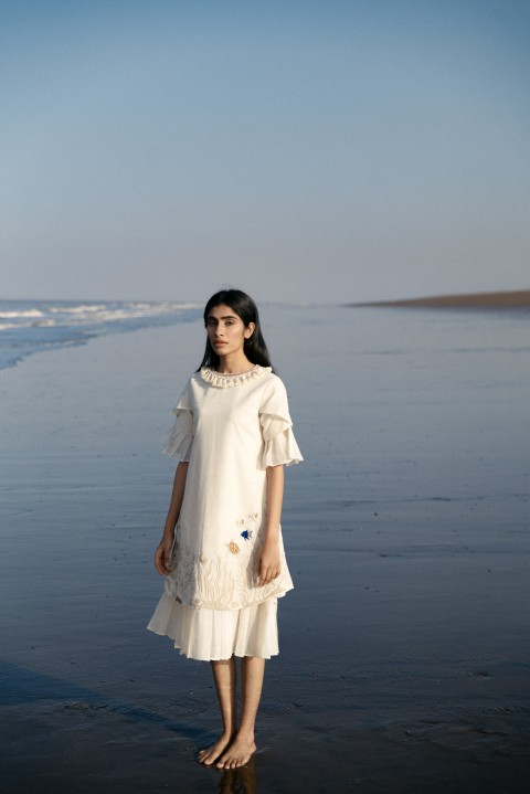 Kora khadi hand embroidered layered dress