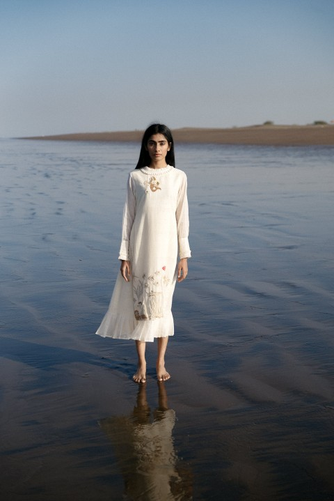 Off-white Handwoven hand embroidered layered dress with pleated neck