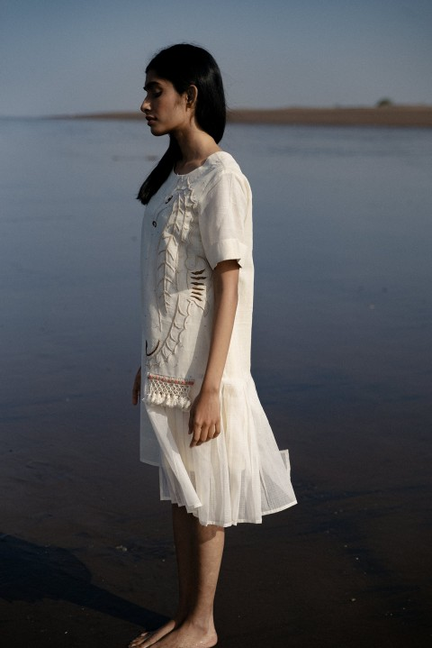 Off-white Handwoven hand Embroidered uneven dress