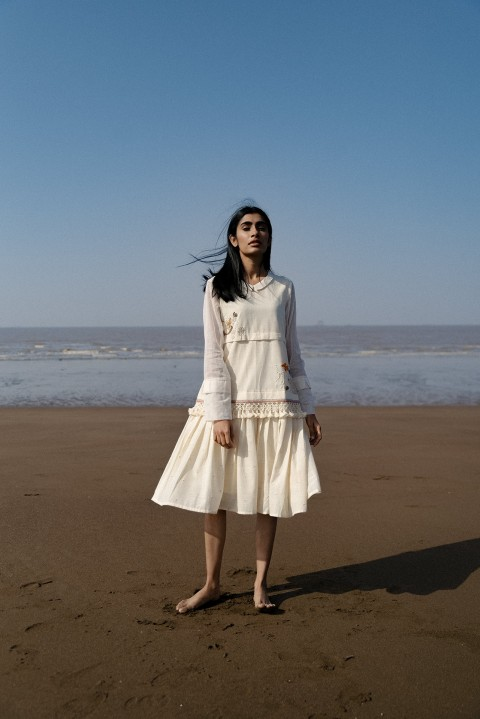 Off-white Handwoven hand embroidered pleated dress