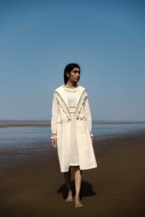 Kora khadi tassel detailing flap collar hand embroidered long jacket