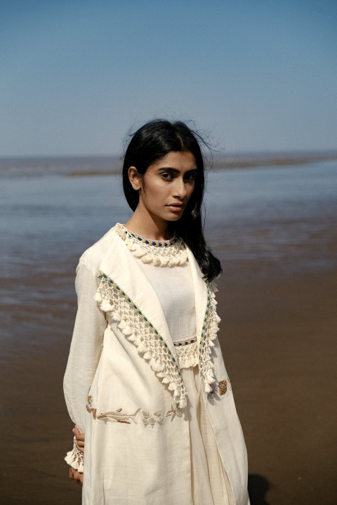 Kota gathered slip with flap collar  hand embroidered long Jacket