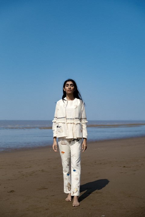 Kota khadi short top with kora khadi hand embroidered jacket and pant