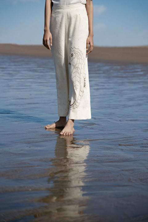Kora khadi hand embroidered straight pant