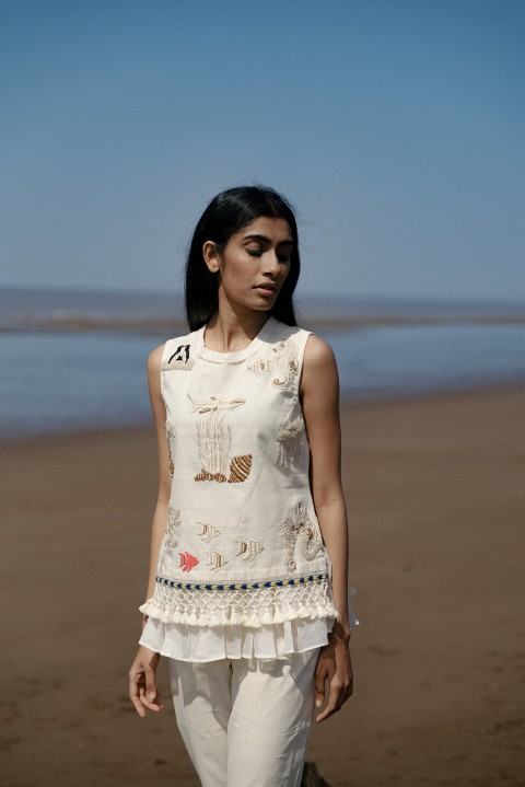 Kora khadi hand embroidered short top with tassel detailing