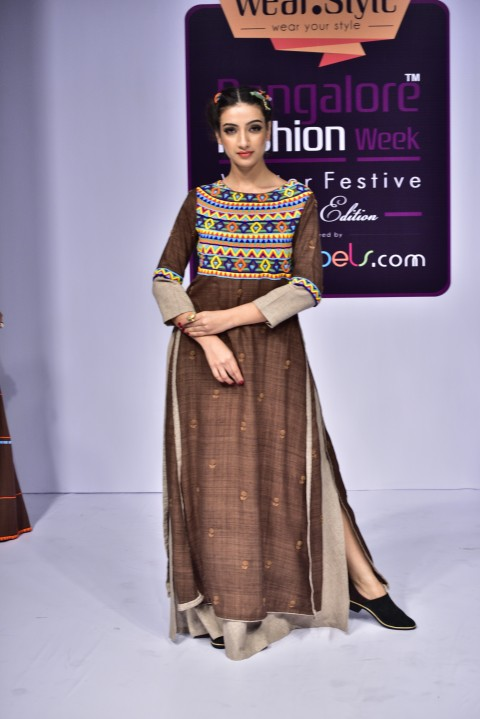 Brown Hand Embroidered Long Tunic with Beige Checks Slip Dress