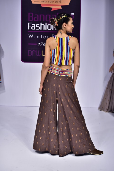 Moti Work Crop Top with Brown Palazzo Pants