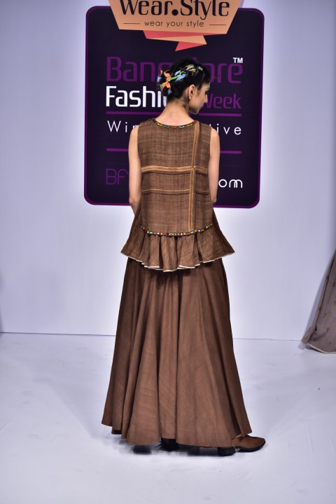 Brown Hand Embroidered two layered top with brown skirt
