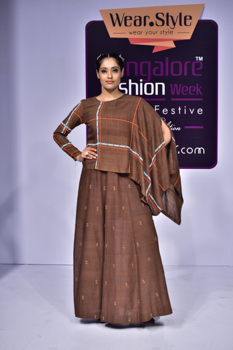Brown Cape with Brown Slip Dress