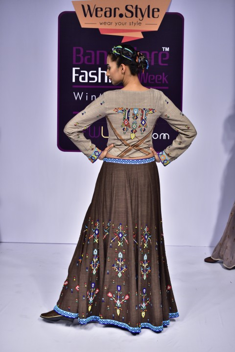 Grey Hand Embroidered top with Brown Skirt